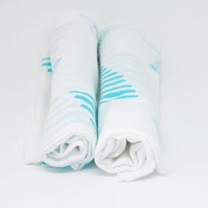 flufi uma camada de algodão: grafismo azul. Kit com 2 unidades