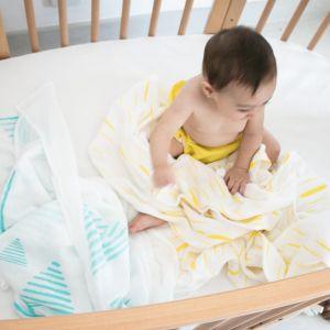 flufi uma camada de algodão: grafismo azul + riscos amarelo. Kit com 2 unidades