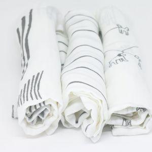flufi uma camada de algodão: linhas cinza + grafismo cinza + passeio cinza. Kit com 3 unidades