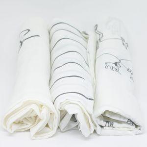 flufi uma camada de algodão: passeio cinza + linhas cinza + mêsversário. Kit com 3 unidades