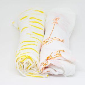 flufi uma camada de algodão: passeio laranja + riscos amarelo. Kit com 2 unidades