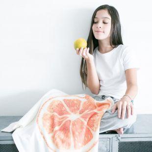 cobertor fruta laranja com nome da criança