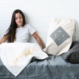 cobertor frase gratidão - 12 opções de cores