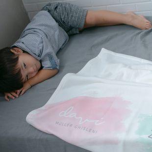 cobertor em estampa primeiros registros da criança