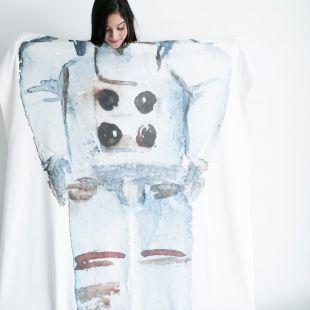 cobertor em aquarela sou astronauta