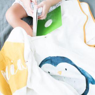 flufi quatro camadas de algodão bicho pinguim com nome da criança