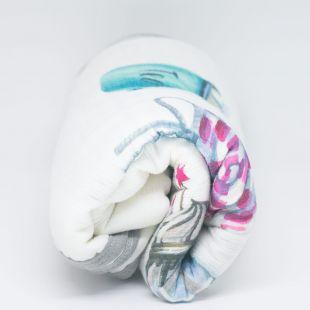 flufi quatro camadas de algodão em pintura candy com nome da criança com verso em linhas cinza