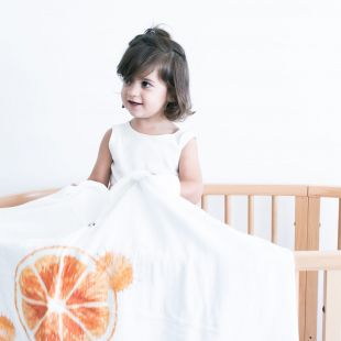 flufi quatro camadas de algodão fruta laranja com nome da criança