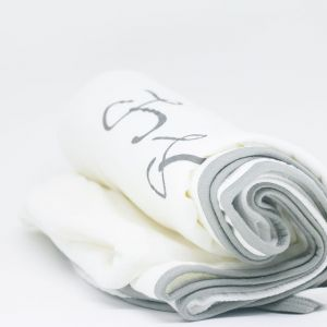 flufi quatro camadas de algodão mêsversário com nome do bebê