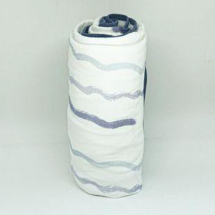 flufi quatro camadas de algodão em pintura barcos com verso em ondas e borda azul