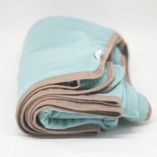 flufi quatro camadas de algodão em cor azul tiffany borda areia