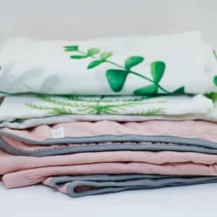 flufi quatro camadas de algodão em cor rosa blush borda cinza