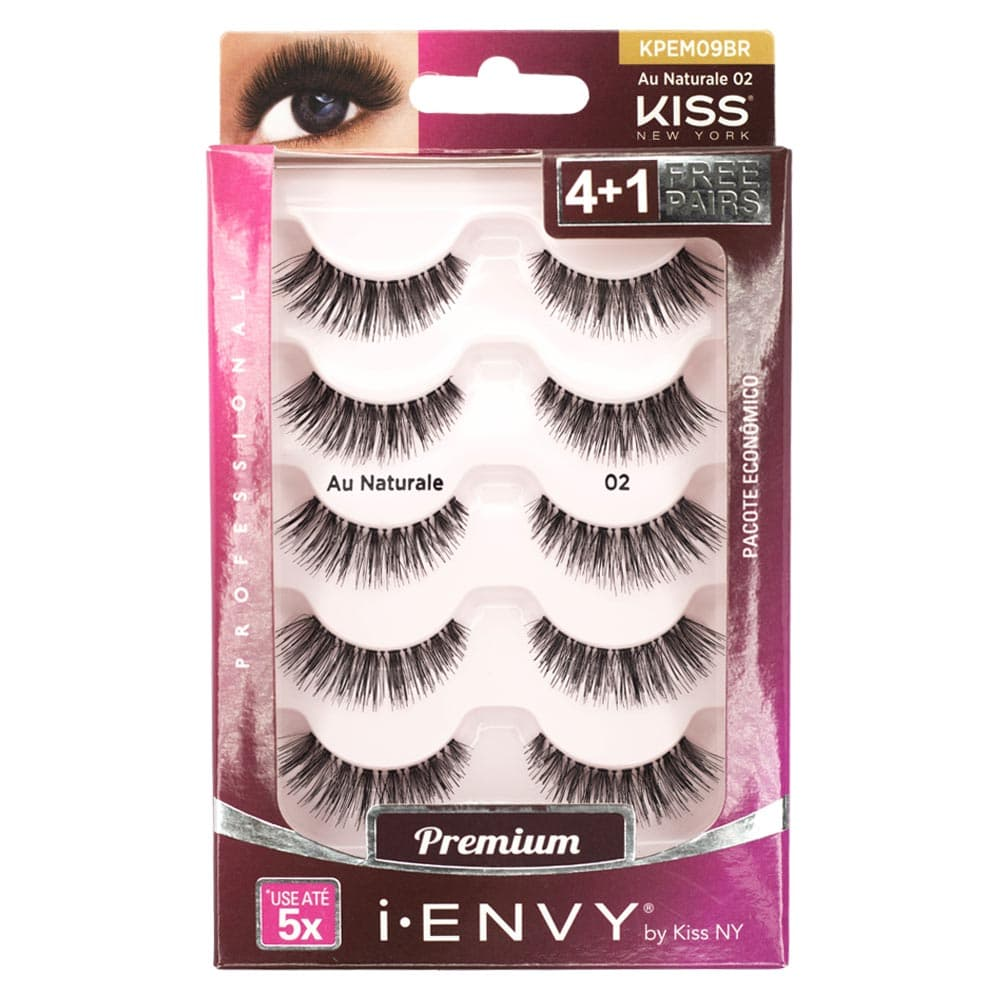 Cílios Postiços Kiss New York I-Envy Au Naturale 02 com 5 Pares