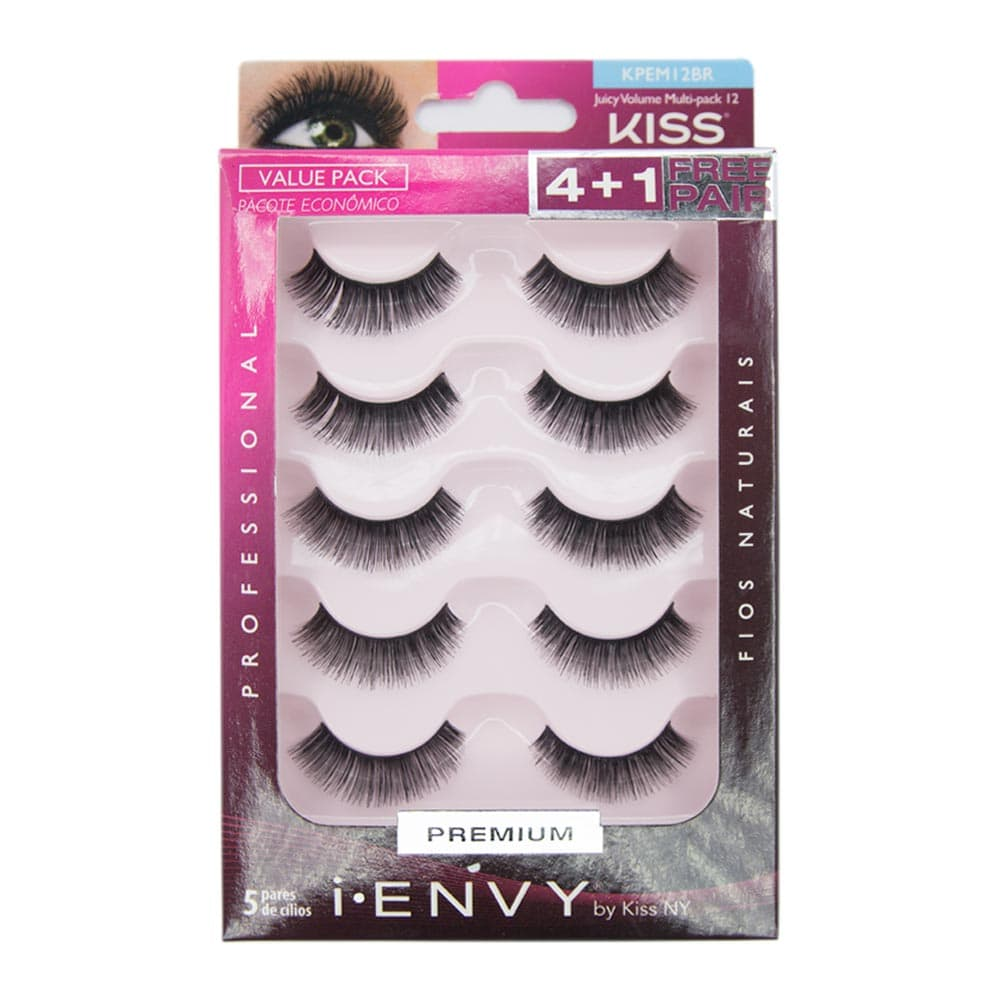 Cílios Postiços Kiss New York I-Envy Juicy Volume Multi Pack 12 com 5 Pares