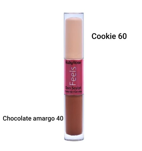 DUO SCULPT FEELS CONTORNO + CORRETIVO - ( COOKIE 60/ CHOCOLATE AMARGO 40) RUBY ROSE