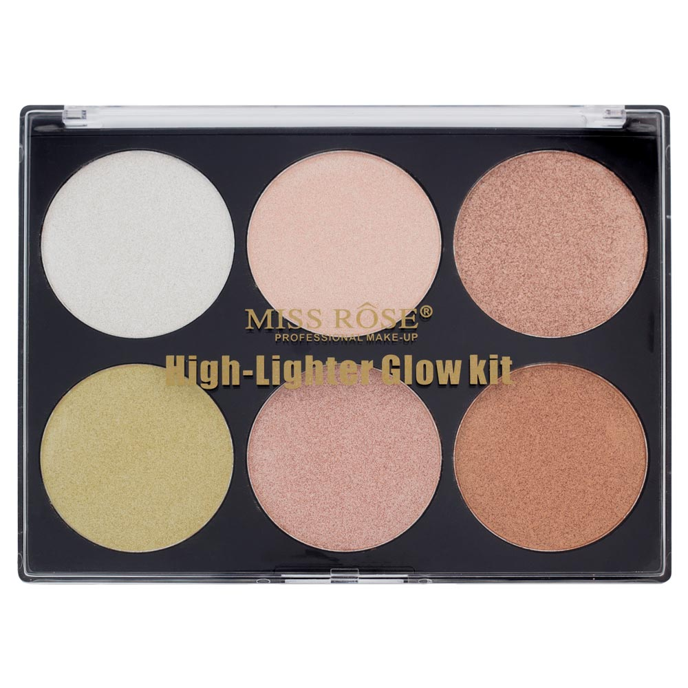 Paleta de Iluminador Miss Rôse Glow Kit High-Lighter N1 com 6 Cores