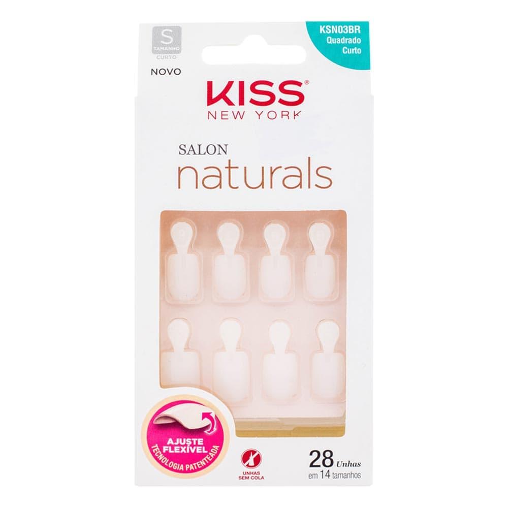 Unhas Postiças Kiss New York Salon Naturals Quadrado Curto Sem Cola