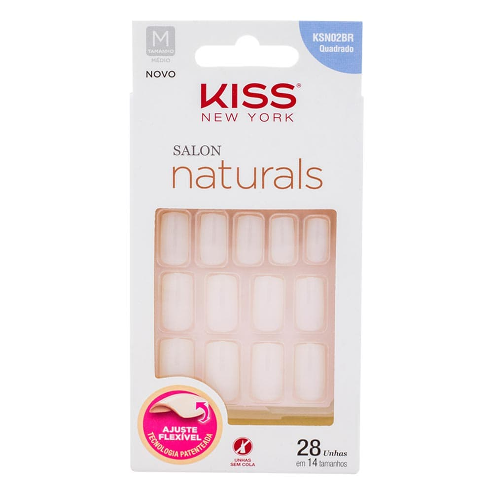 Unhas Postiças Kiss New York Salon Naturals Quadrado Médio Sem Cola
