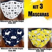 Máscara em Tecido  kit com 3 ( Cod. 006, 046, 047 )