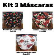 Máscara em Tecido  kit com 3 ( Cod. 020, 022, 003 )