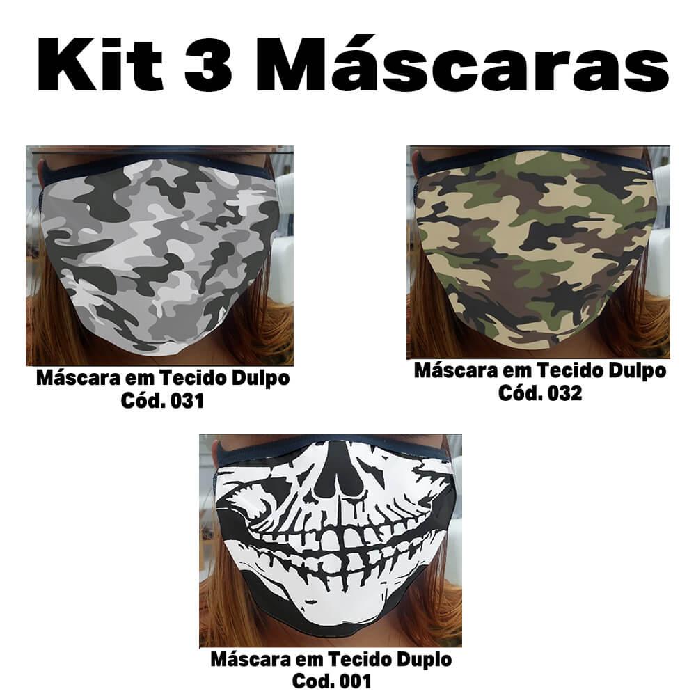 Máscara em Tecido  kit com 3 ( Cod. 031, 032, 001 )