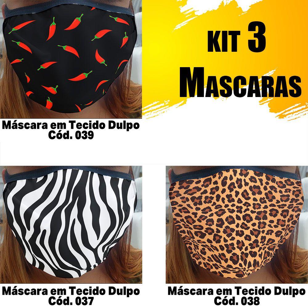 Máscara em Tecido  kit com 3 ( Cod. 037, 038, 039 )