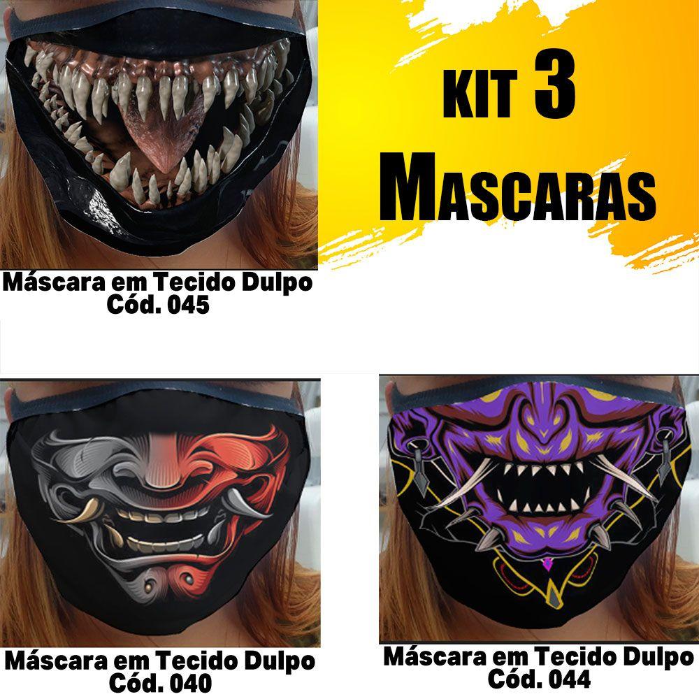 Máscara em Tecido  kit com 3 ( Cod. 040, 044, 045 )
