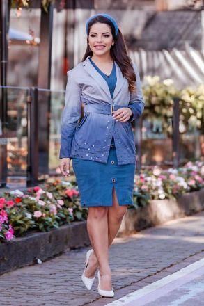 Blazer Sarja Tie Dye com Cinto Luciana Pais 92770 Azul