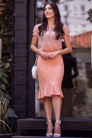 Blusa em Chiffon com Detalhe Renda Luciana Pais 92300