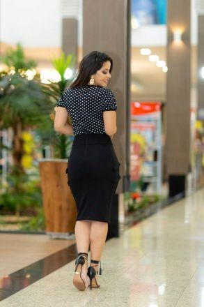 Blusa em Malha com Detalhe  de Laço Estampa de Poá LP 92228