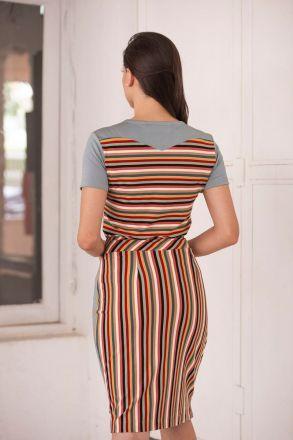 Blusa em Malha Listrada Detalhe Crepe Liso Luciana Pais 92378