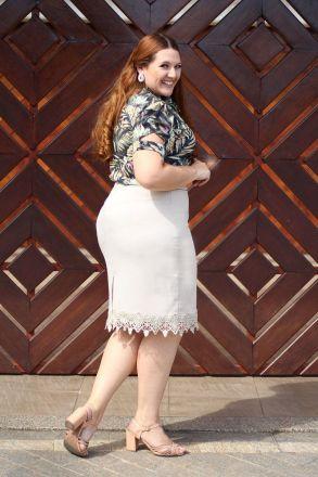 Blusa Plus Size Crepe Estampado Kauly Moda Evangélica 2318