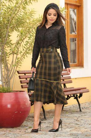 Camisa Crepe Detalhe Tule Kauly Moda Evangélica 2554