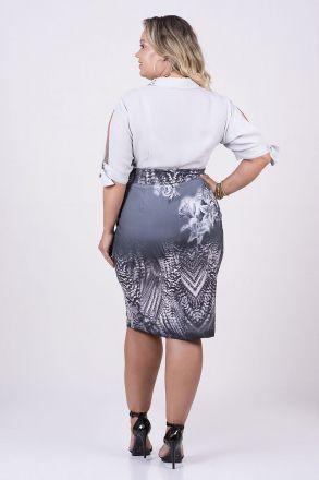 Camisa Plus Size em Crepe Detalhe laço Kauly Moda Evangélica 2469