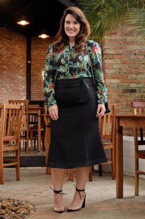 Camisa Plus Size em Seda com Elastano e Estampa Exclusiva Kauly 2805