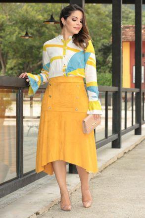 Camisa Viscose Estampa Exclusiva Kauly Moda Evangélica 2537