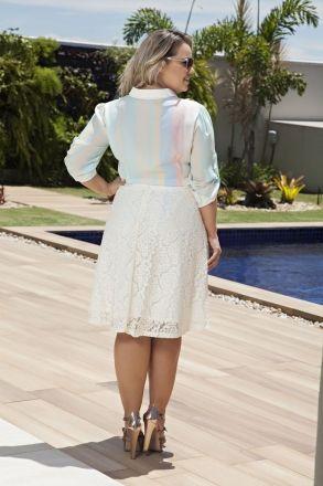 Conjunto Plus Size Camisa e Saia Renda Kauly 2145
