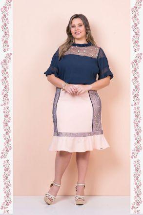 Conjunto Plus Size com Detalhes de Renda Bordada Kauly 2355