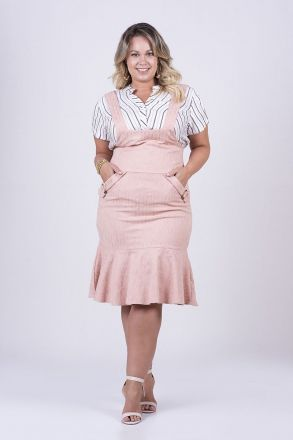 Conjunto Plus Size Salopete em Jackard e Camisa em Viscose Listrada Kauly Moda Evangélica 2477