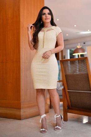 Vestido Jacquard com Aplicações Monia Moda Evangélica 84106