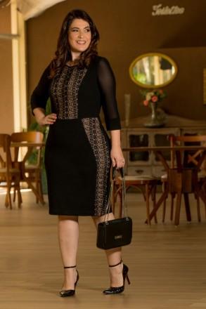 Plus Size Vestido Montaria com Recortes em Renda Kauly 2889 Preto
