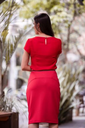 Saia em Malha com Forro Detalhe Elástico Cintura Luciana Pais 92314