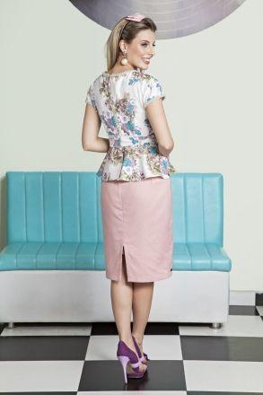Saia Lapis em Jacquard com Forro Moda Evangélica LP92112