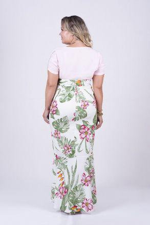 Saia Longa Plus Size Estampada Viscose com Forro Kauly 2455