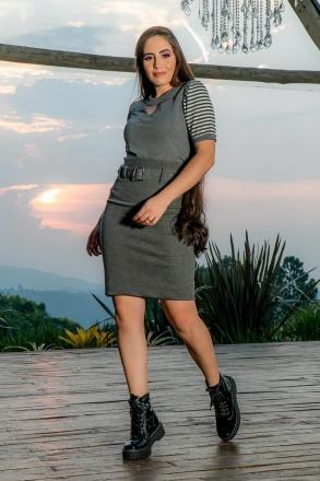 Saia Luciana Pais em Metalassê Bolso Fake e Cinto 93000