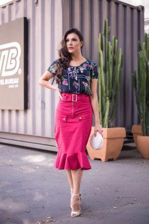 Saia Sarja com Cinto Luciana Pais Moda Evangélica 92221