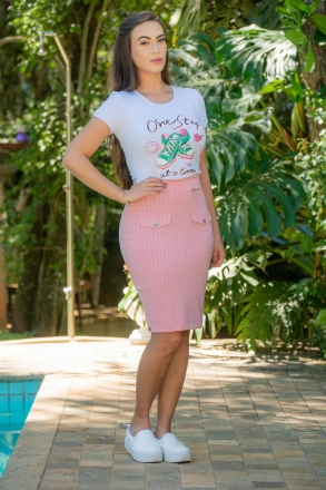 T-shirt Luciana Pais Malha Canelada 92976
