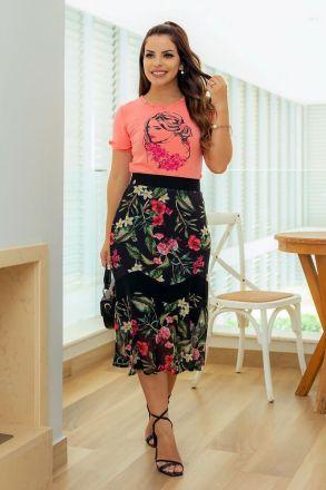 T-Shirt Malha e Estampa Frontal Luciana Pais 92700