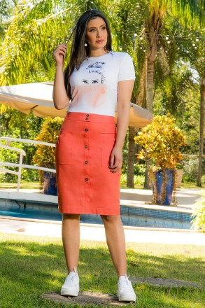 T-shirt Malha Estampada Luciana Pais 92804 Branca