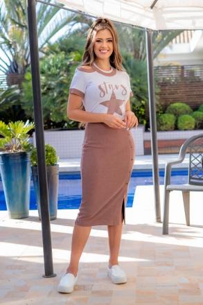 T-shirt Malha Luciana Pais Estampada 93088